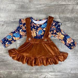 Fall Floral top & Caramel Velvet Suspender Skirt